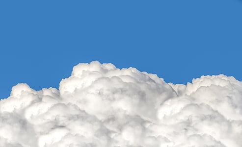 Chmura, Cumulus, Puszyste, Puffy, bawełna, błękitne niebo, niebo