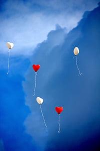 globus, cor, l'amor, Romanç, cel, cor en forma de, vermell