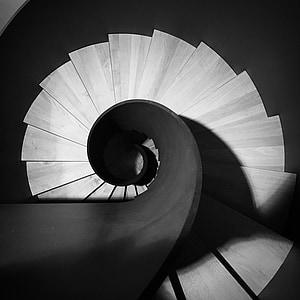 trepid, must ja valge, arhitektuur, järk-järgult, spiraalne trepp, trepp samm, kaasaegne