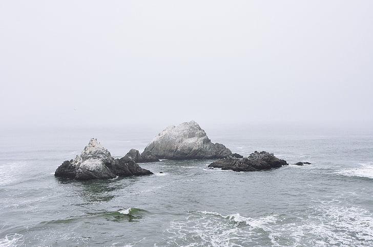 oceano, mare, acqua, rocce, nebbia, nuvoloso, senza persone