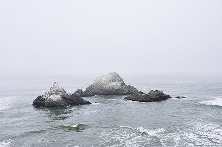 oceán, Já?, voda, kameny, mlha, zataženo, žádní lidé