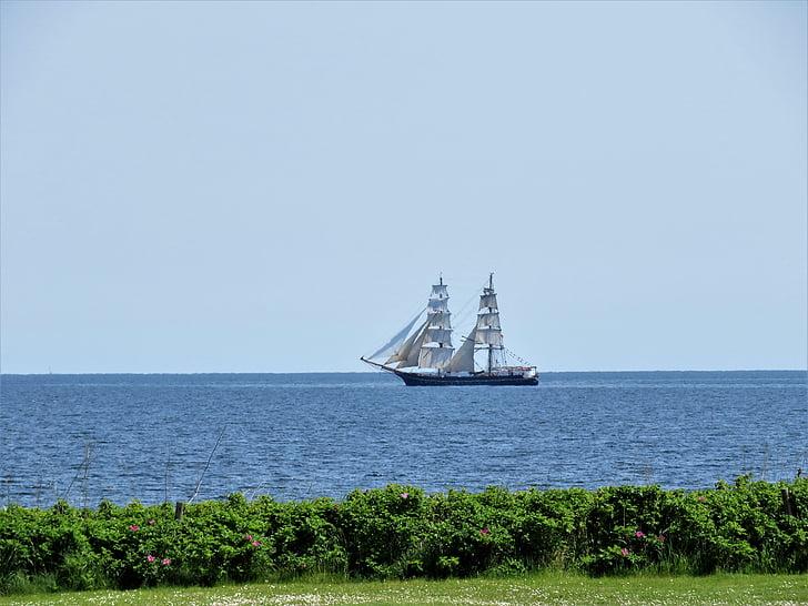 sailing vessel, baltic sea, zweimaster, sail, water sports, quiet lake, maritime