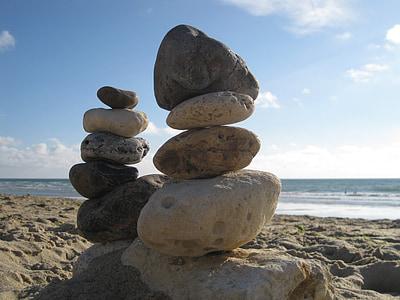Balance, pierres, empilé, mer, plage