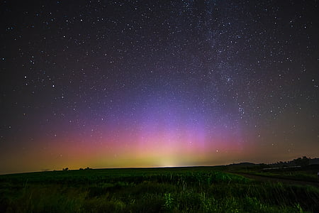 nordlys, aurora borealis, nat, Sky, stjerner, lys, fænomen