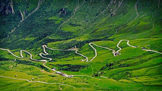 mountain road, panorama, mountain landscape, mountain pass, pordoi pass, arabba, val di fassa