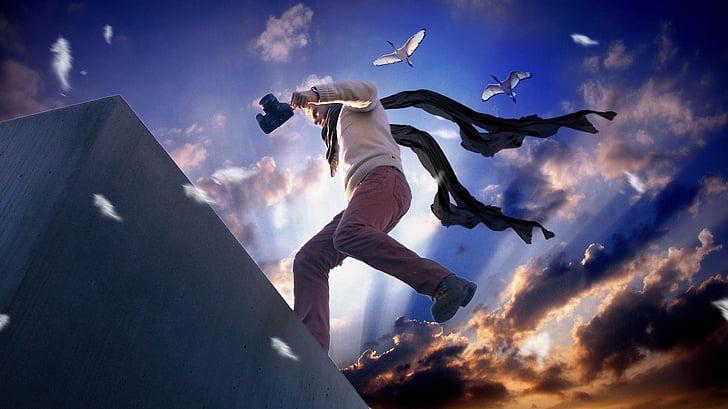 fotògraf, heroi, càmera, acció, èpica, cel, saltant