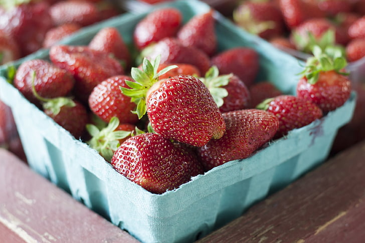 aardbeien, markt, aardbei, Sweet, zomer, Tuin, voeding