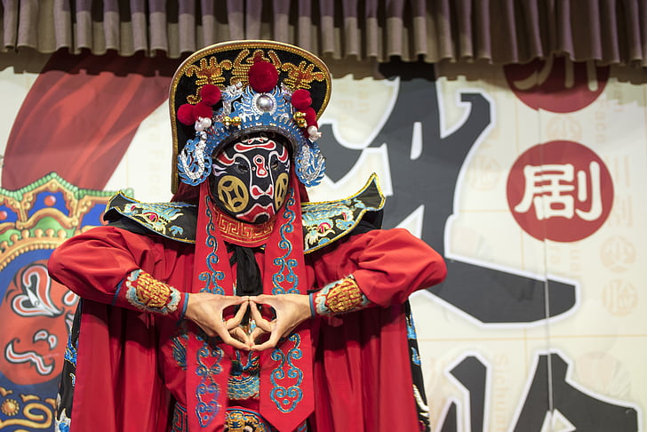 chinese opera, mask, costume, traditional, culture, china, sichuan