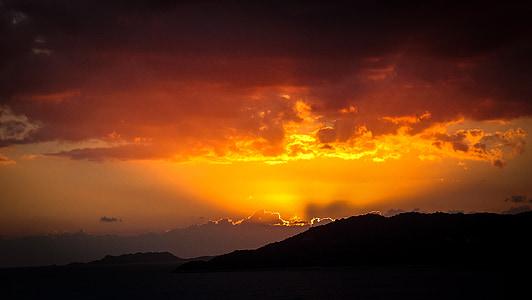 サンセット, 山, 風景, 空, における, 残光, 自然