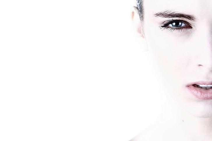 ansigt, kvinde, kvinder, makeup, sund, en kvinde kun, kun kvinder