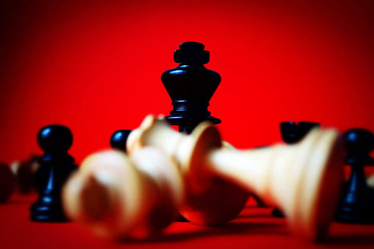 chess, close-up view, red, winner, no people, indoors, futuristic
