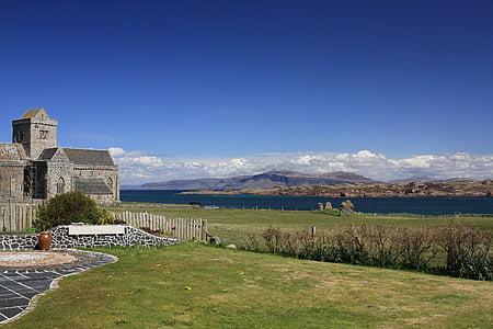 iona, abbey, scotland, landscape, day, sunny, view