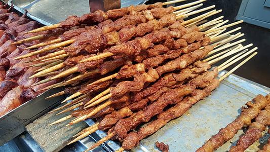 carne, carne di strada, cibo cinese, cucina cinese, cibo asiatico, carne di maiale