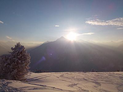 winter, winterpanoram, alpine, mountains, sun, snow, new zealand
