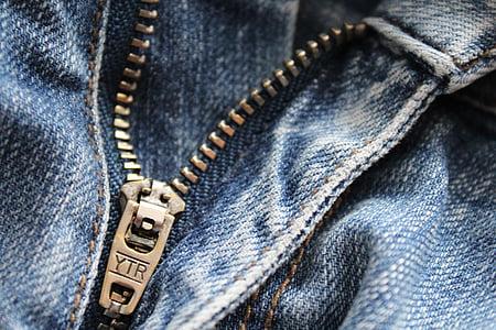 邮编, 牛仔裤, 服装, 关闭, 金属, 时尚, 裤子