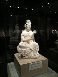 Tēlniecība, guanyin, antīks, porcelāns, balta, tradicionālā, Ķīna