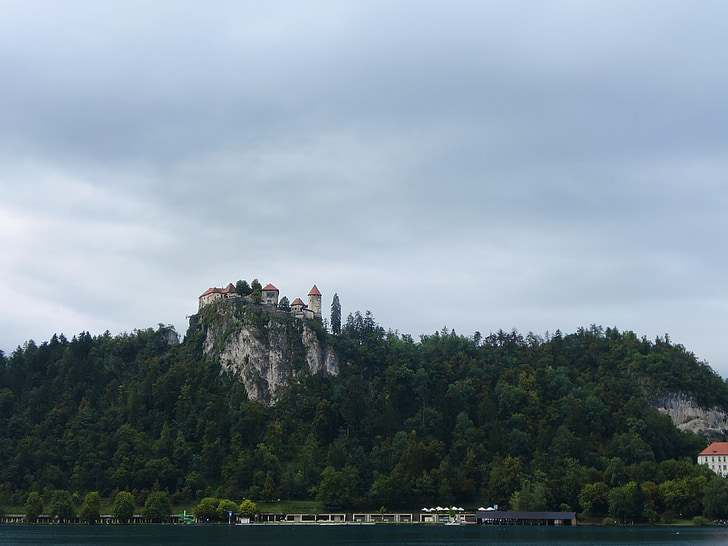 castle, slovenia, bled, mountain