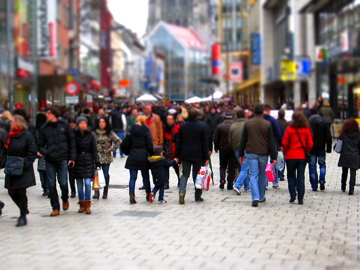 iepirkšanās, iepirkšanās iela, cīkstiņā, gājēju zona, Ziemassvētku laiks, pilsēta, centrs