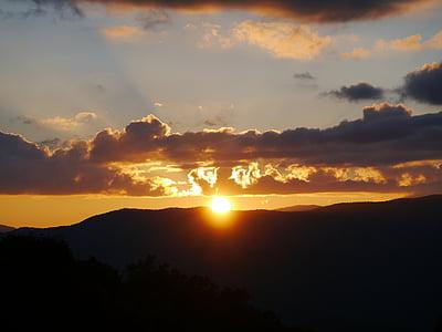 pôr do sol, sol, nuvens, abendstimmung, céu, romance, arrebol