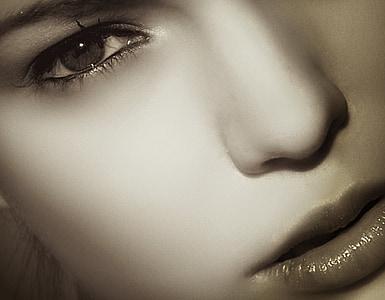 obličej, portrét, Žena, Děvče, makro, detail, lidské