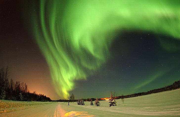 màu xanh lá cây, màu xanh, bầu trời, đêm, thời gian, tuyết, mùa đông