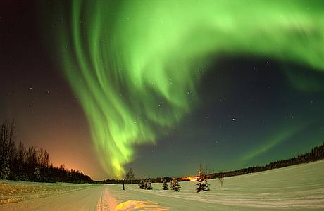 green, blue, sky, night, time, snow, winter