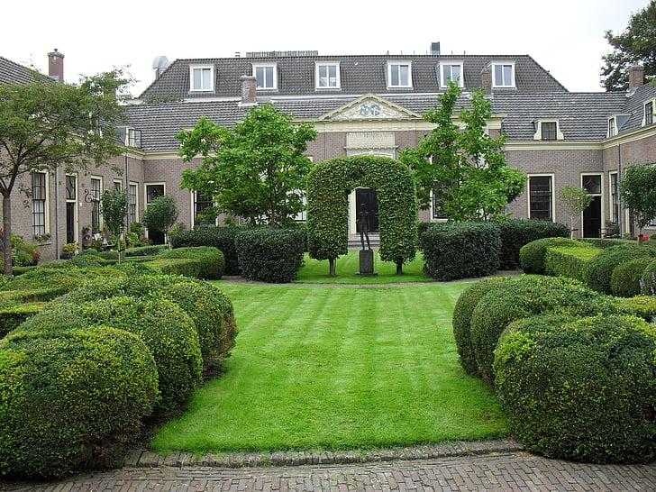 architecture, netherlands, park, building, holland, home, formal Garden