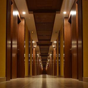 Gang, Hotel, hoone, riiulirea, arhitektuur, perspektiivi, uksed
