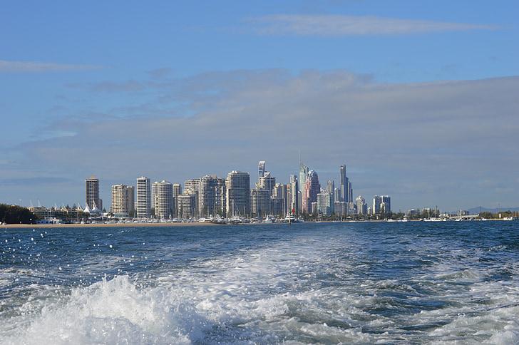 Brisbane, Gold Coast Australien, Whale-watching, Großstadt, hohen Gebäuden, Wolkenkratzer, Wasser