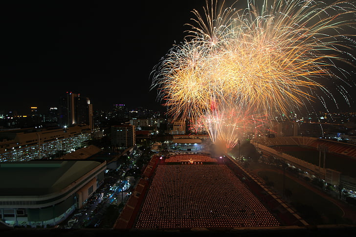fireworks, bangkok, thailand, celebration, city