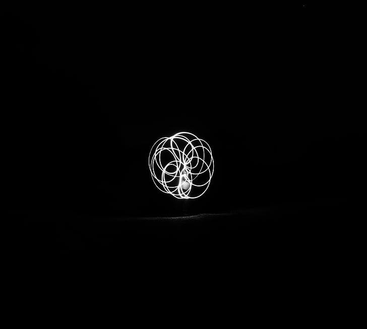 mørk, nat, sort, hvid, lys, sort og hvid, symbol