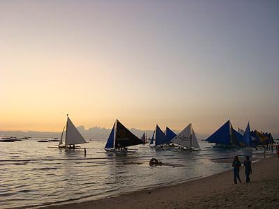 Boracay, švytėjimas, valtis, paplūdimys, Borakajaus paplūdimio, jūra, Saulėlydis
