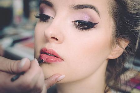 fer, persones, dona, bellesa, conformen, cara, llapis de llavis