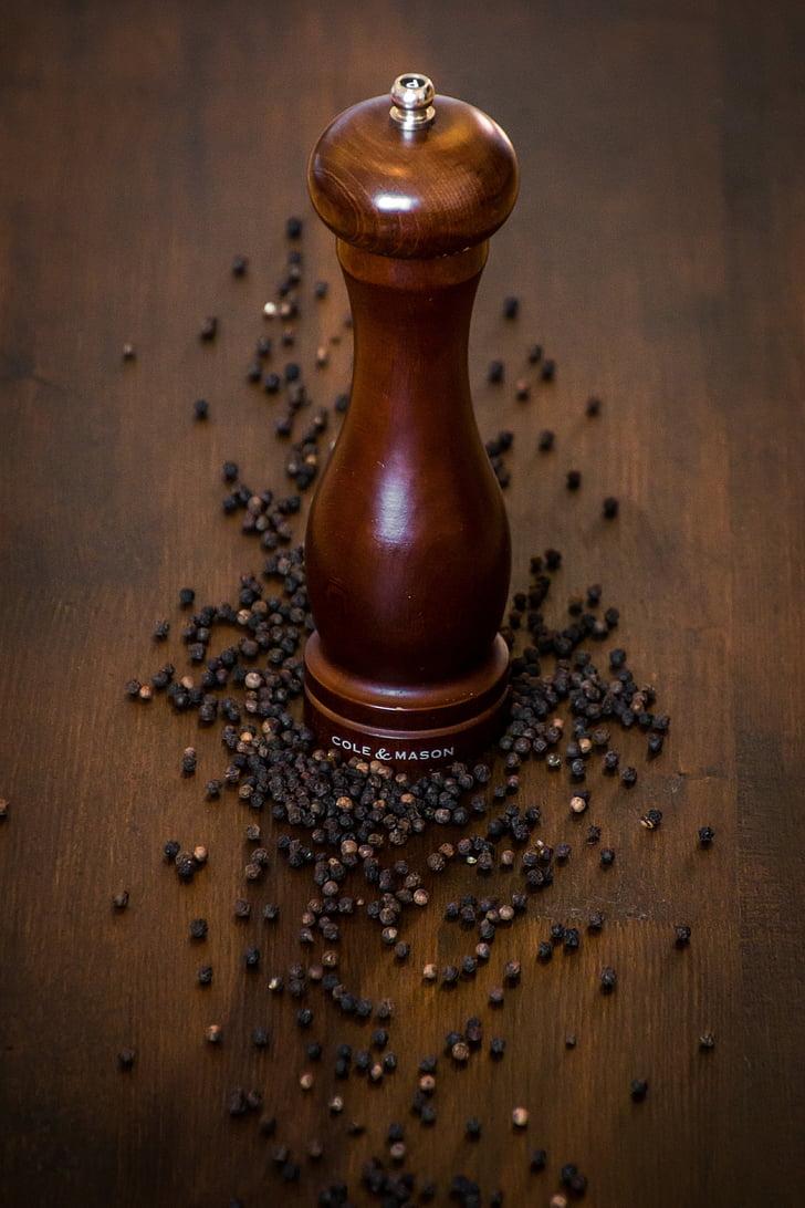 poivre, Moulin à poivre, Sharp, bénéficier de, épices, grains de, poivre noir