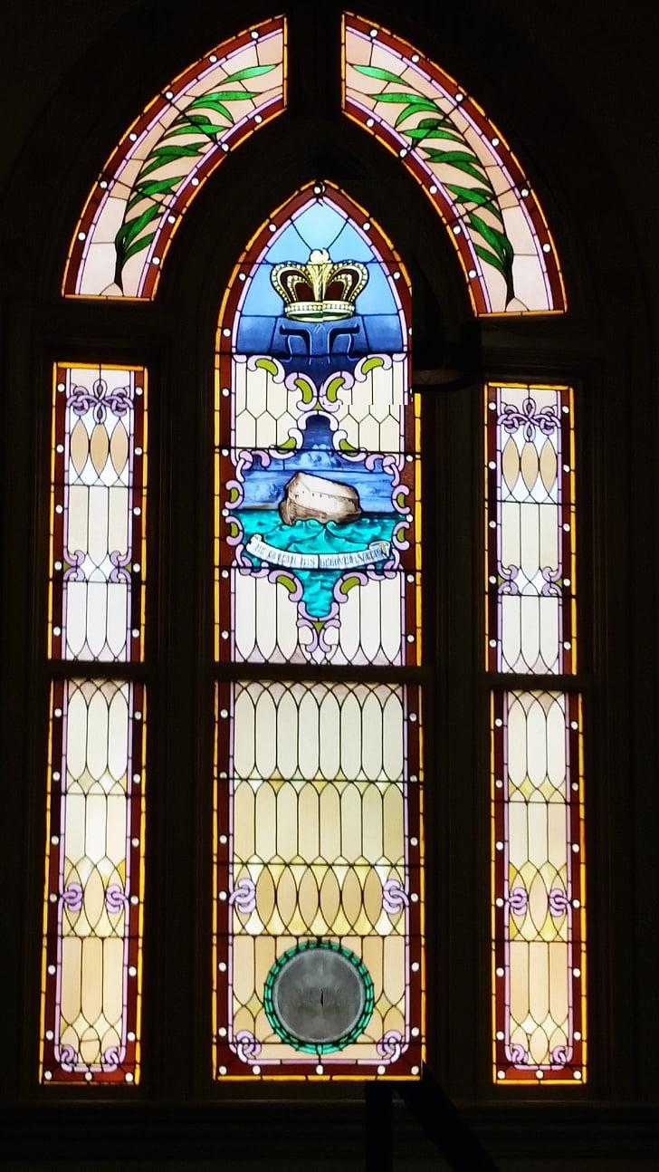 zsidó, templom, ablak, üveg, festett, kék, Noé