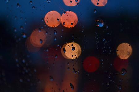 bokeh, llums, fons, vidre, gota d'aigua, nit, l'aigua