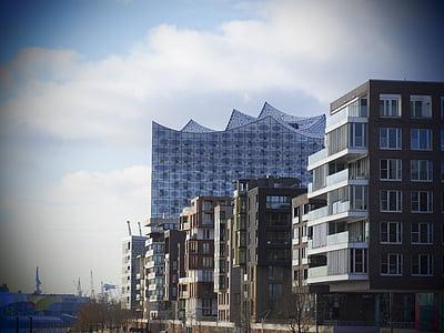 Hamburg, Saksamaa, Elbe philharmonic hall, Plaza, Filharmoonia orkester, Landmark, arhitektuur