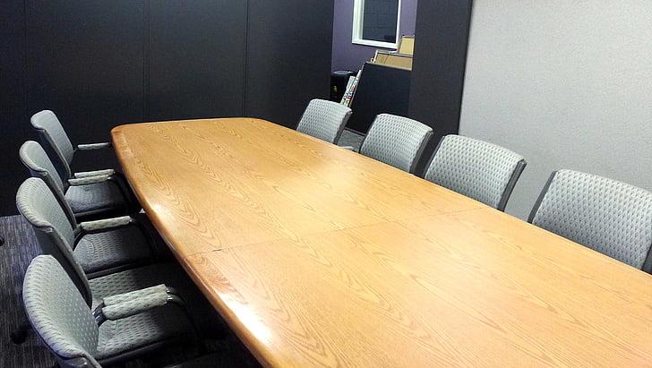 Conferència, taula, negoci, reunió, taula de conferències, corporativa, espai d'oficina
