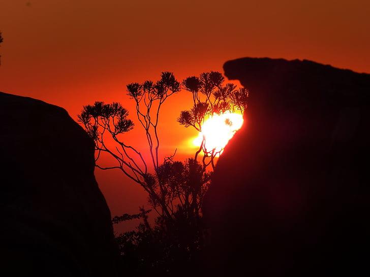 África do Sul, cidade do cabo, montanha da mesa, rocha, pôr do sol, sol, arrebol