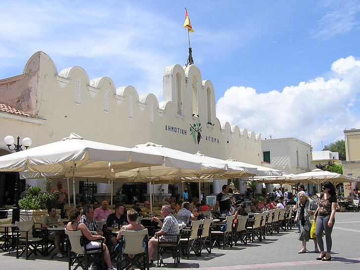 Кос, рынок, Греческий остров, город, Рынок зал, кафе, туристы