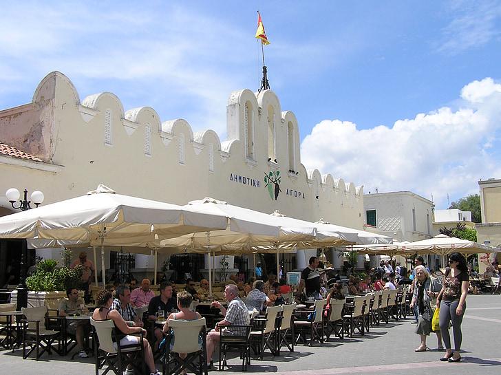 Kos, mercat, illa grega, ciutat, Ayuntamiento, cafeteria, turistes