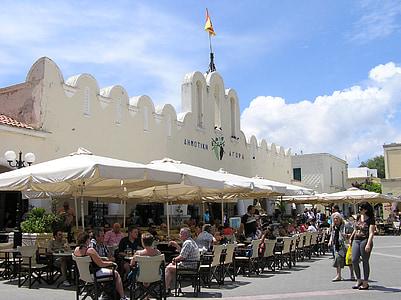 Kos, turu, Kreeka saare, City, turuhoone, kohvik, turistid