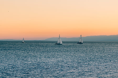 boats, dawn, dusk, ocean, sailboats, sea, sunrise