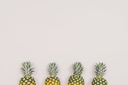 pineapples, fruit, white background, wall, copyspace, minimal, pineapple