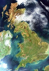 Royaume-Uni, l'Angleterre, image satellite, photo satellite, vue aérienne, Ecosse, Irlande