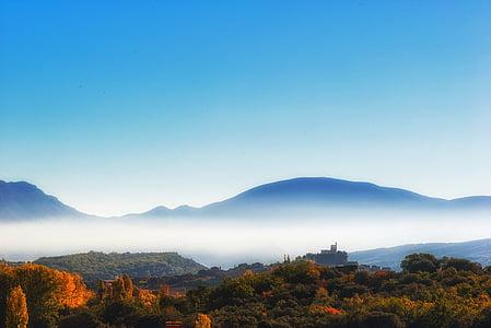 hösten, dimma, naturen, bergen, landskap, i morgon, Mountain