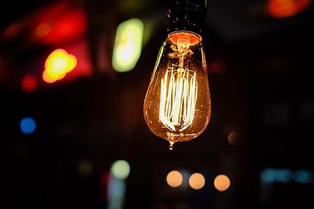 glödlampa, ljus, glödlampa, idén, innovation, inspiration, kreativitet