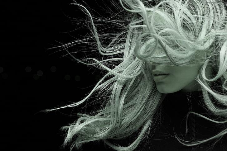 modela, kosa, Vjetar, izloženost, portret, lijepa, ljepota