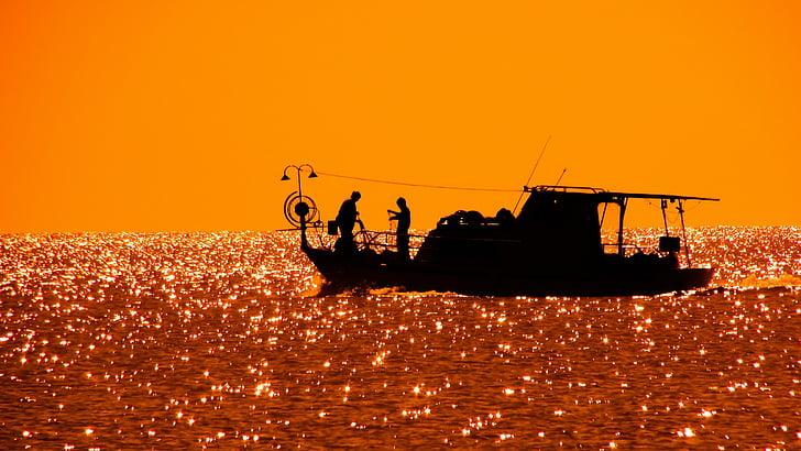 barco de pesca, à tarde, pôr do sol, pesca, barco, mar, ouro