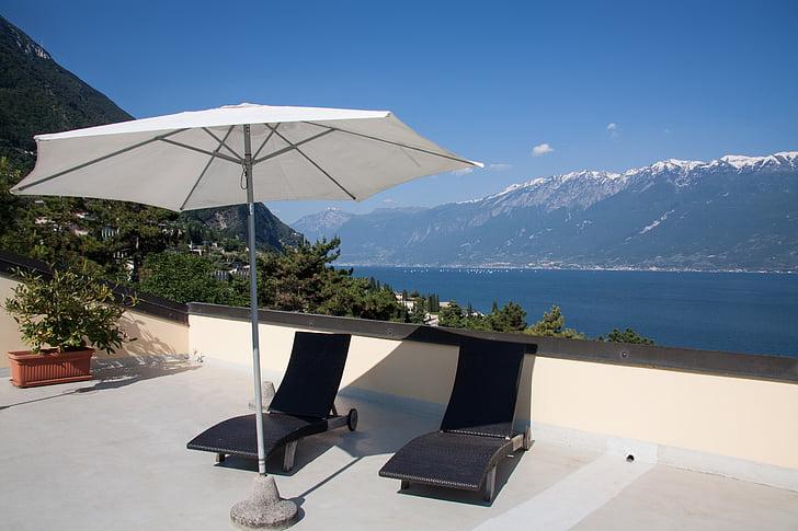 Sân thượng, Sân thượng/Hiên, khách sạn, ô, ghế tắm nắng, kỳ nghỉ, phục hồi